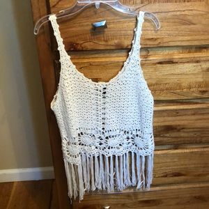 Knitted Fringe Tank Top